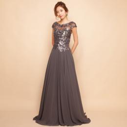 フラワーモチーフスパンコールシフォンシルバーロングドレス