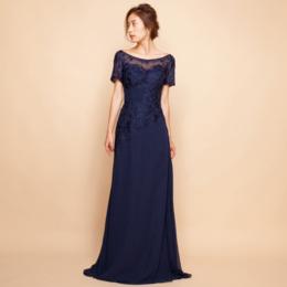 刺繍レースラインストーンエレガントオフショルダーネイビーロングドレス