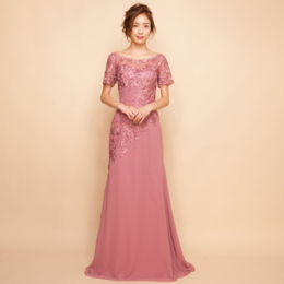 刺繍レースラインストーンエレガントオフショルダーダスティーローズロングドレス