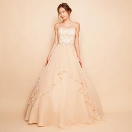 刺繍ビーズレイヤーシフォンシャンパンカラーボリュームロングドレス