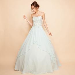 刺繍ビーズレイヤーシフォンミントカラーボリュームロングドレス