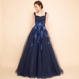 フラワー刺繍プリンセスボリュームチュールネイビーロングドレス