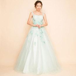 フラワー刺繍プリンセスボリュームチュールミントカラーロングドレス