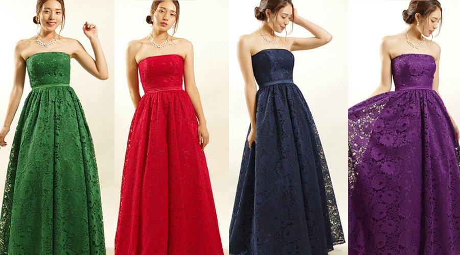 ドレスルームアミオリジナルの総レースカラードレスのご紹介